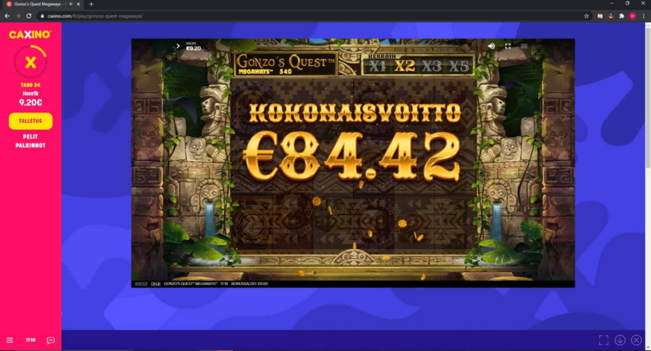 Gonzos Quest Megaways Casino win picture by Henkka1986 23.7.2020 84.42e 422X Caxino