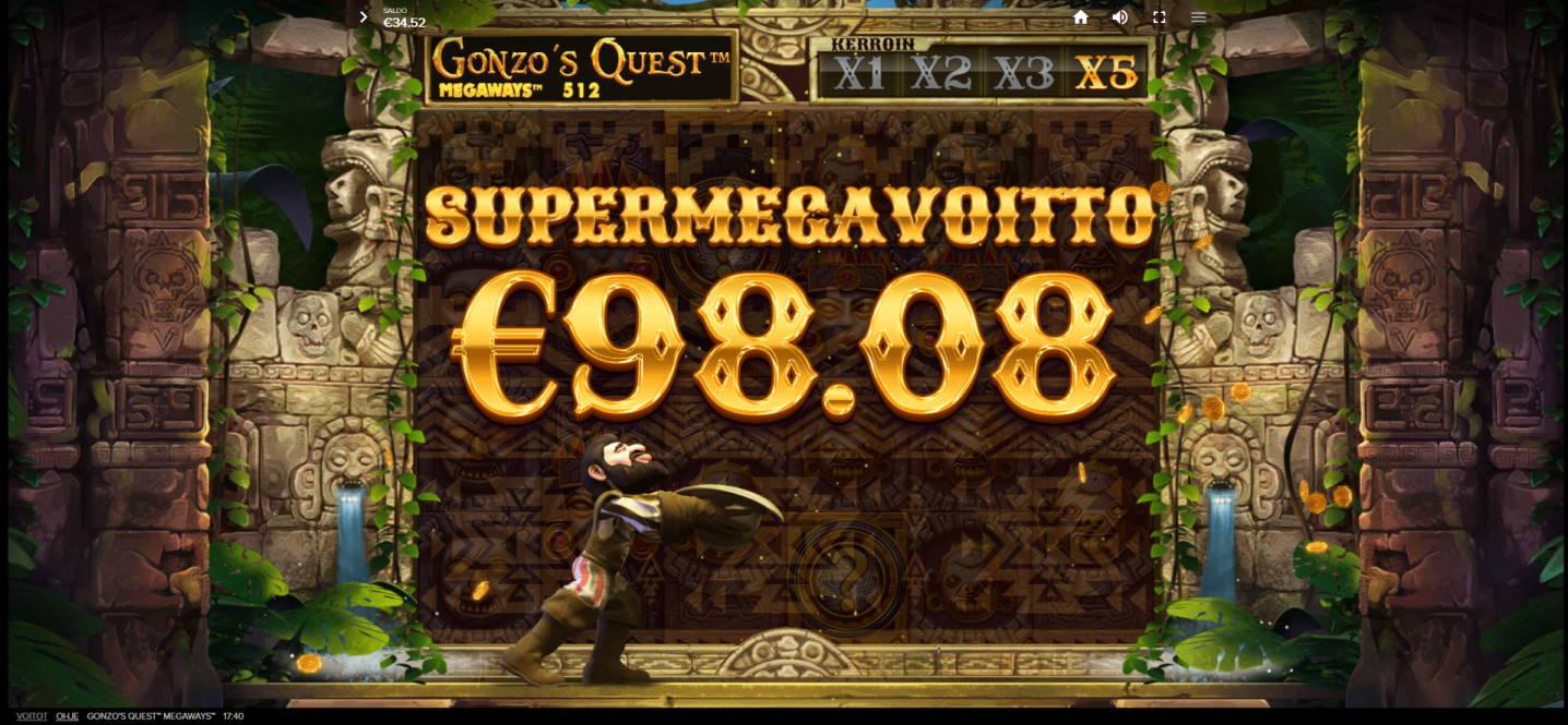 Gonzos Quest Megaways Casino win picture by Kari Grandi 23.7.2020 98.08e 245X