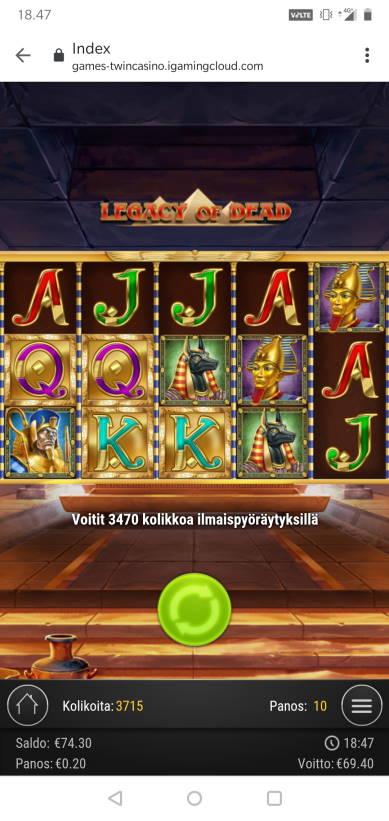Legacy of Dead Casino win picture by MikoTiko 30.7.2020 69.40e 347X