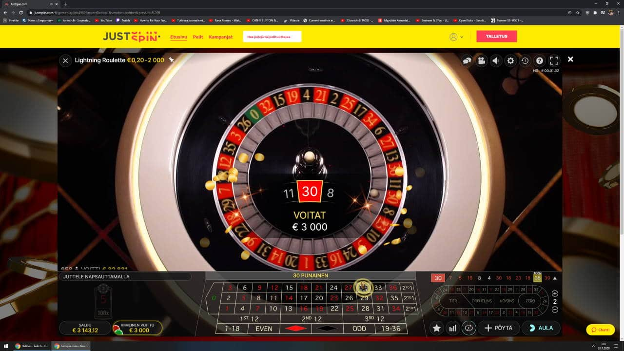 Lightning Roulette Casino win picture by Steppeni 26.7.2020 3000e 30X JustSpin