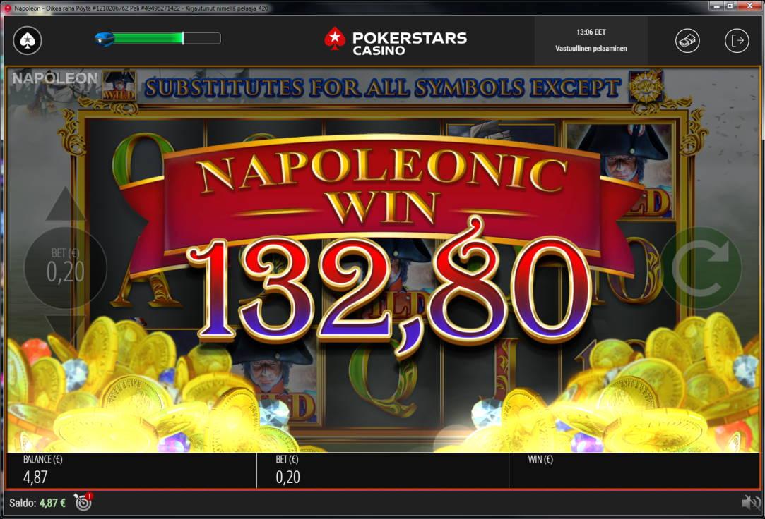 Napoleon Casino win picture by Banhamm 27.7.2020 132.80e 664X PokerStars Casino