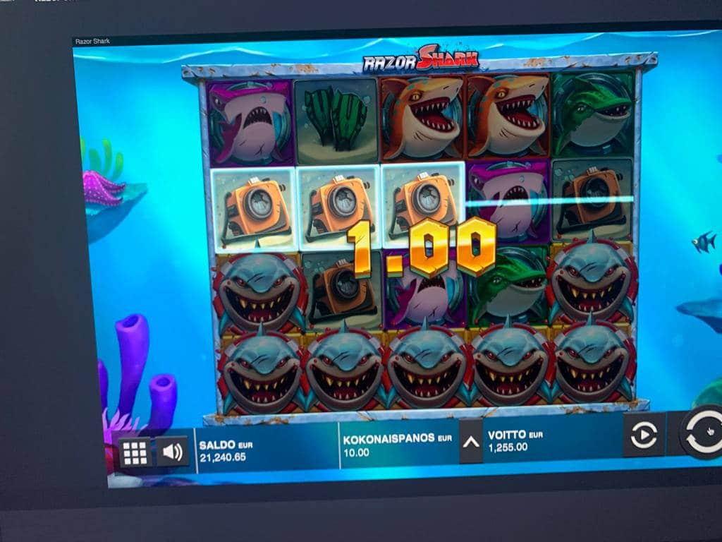 Razor Shark Casino win picture by Pottijussi 22.7.2020 1255e 126X ComeOn
