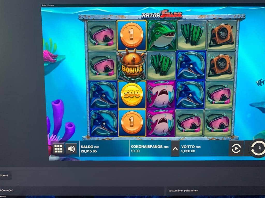 Razor Shark Casino win picture by Pottijussi 22.7.2020 5020e 502X ComeOn