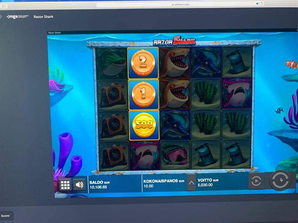 Razor Shark Casino win picture by Pottijussi 22.7.2020 5030e 503X ComeOn