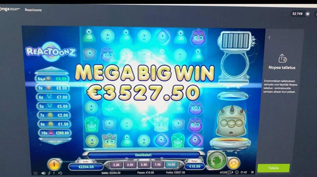 Reactoonz Casino win picture by Pottijussi 21.7.2020 3527.50e 353X ComeOn