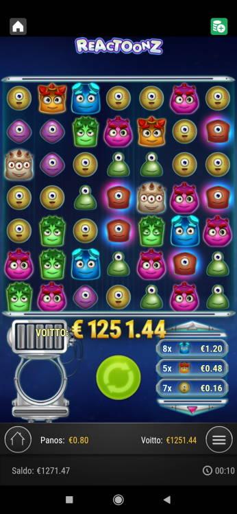 Reactoonz Casino win picture by Turboburo 24.7.2020 1251.44e 1564X