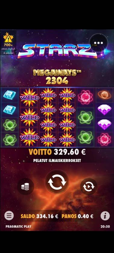 Starz Megaways Casino win picture by Temssii 24.7.2020 329.60e 824X