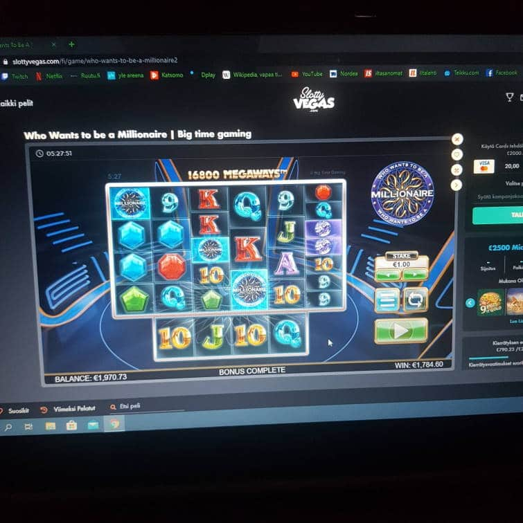 Who Wants to be a Millionaire Casino win picture by hessu86 23.7.2020 1784.60e 1785X SlottyVegas