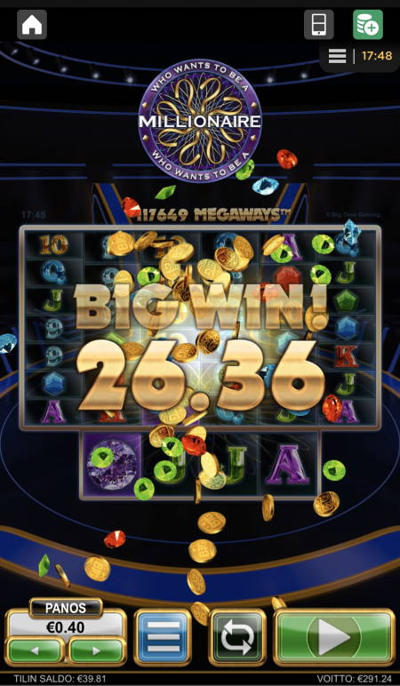 Who Wants to be a Millionaire Casino win picture by sonefinland 23.7.2020 291.24e 728X
