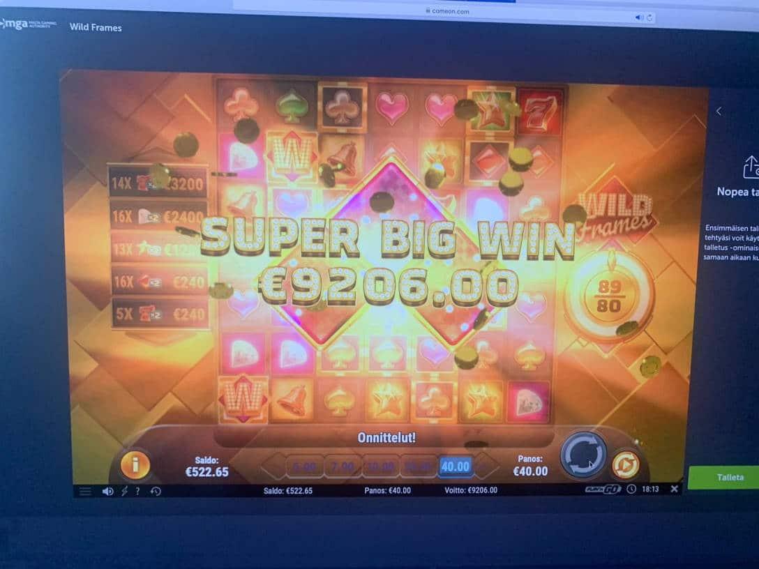 Wild Frames Casino win picture by Pottijussi 22.7.2020 9206e 230X ComeOn