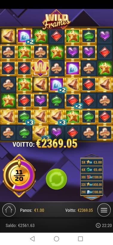 Wild Frames Casino win picture by jaapero 23.7.2020 2369.05e 2369X