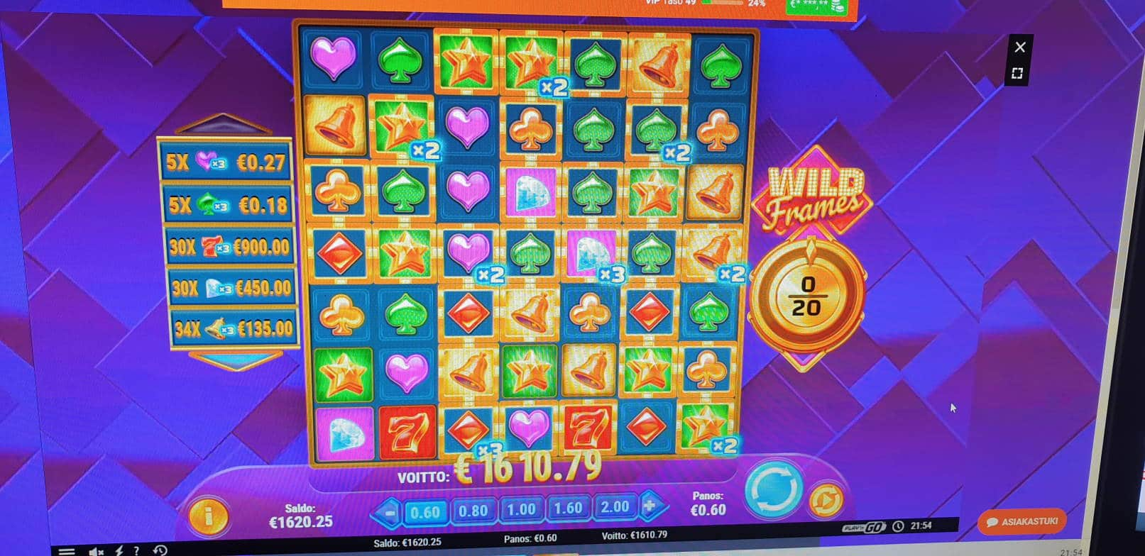 Wild Frames Casino win picture by Javelinas 13.10.2020 1610.79e 2684X Leovegas