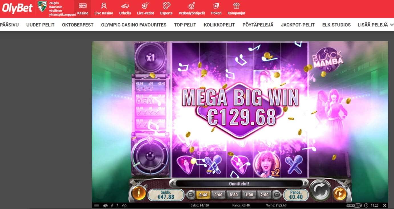 Black Mamba Casino win picture by MrMork666 28.10.2020 129.68e 324X Olybet