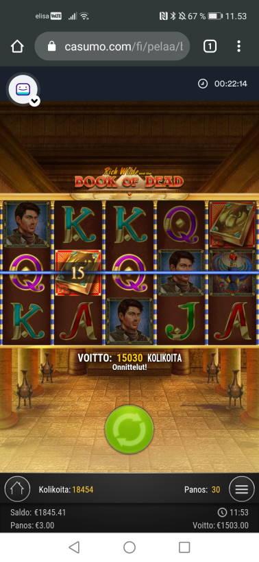 Book of Dead Casino win picture by jyrkkenkloppi 28.10.2020 1503e 501X Casumo