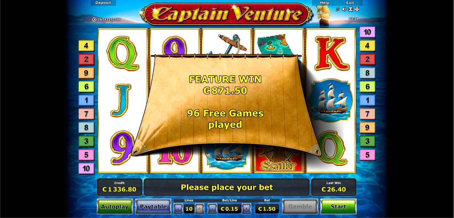 Captain Ventura Casino win picture by Morrimoykky 9.11.2020 871.50e 581X