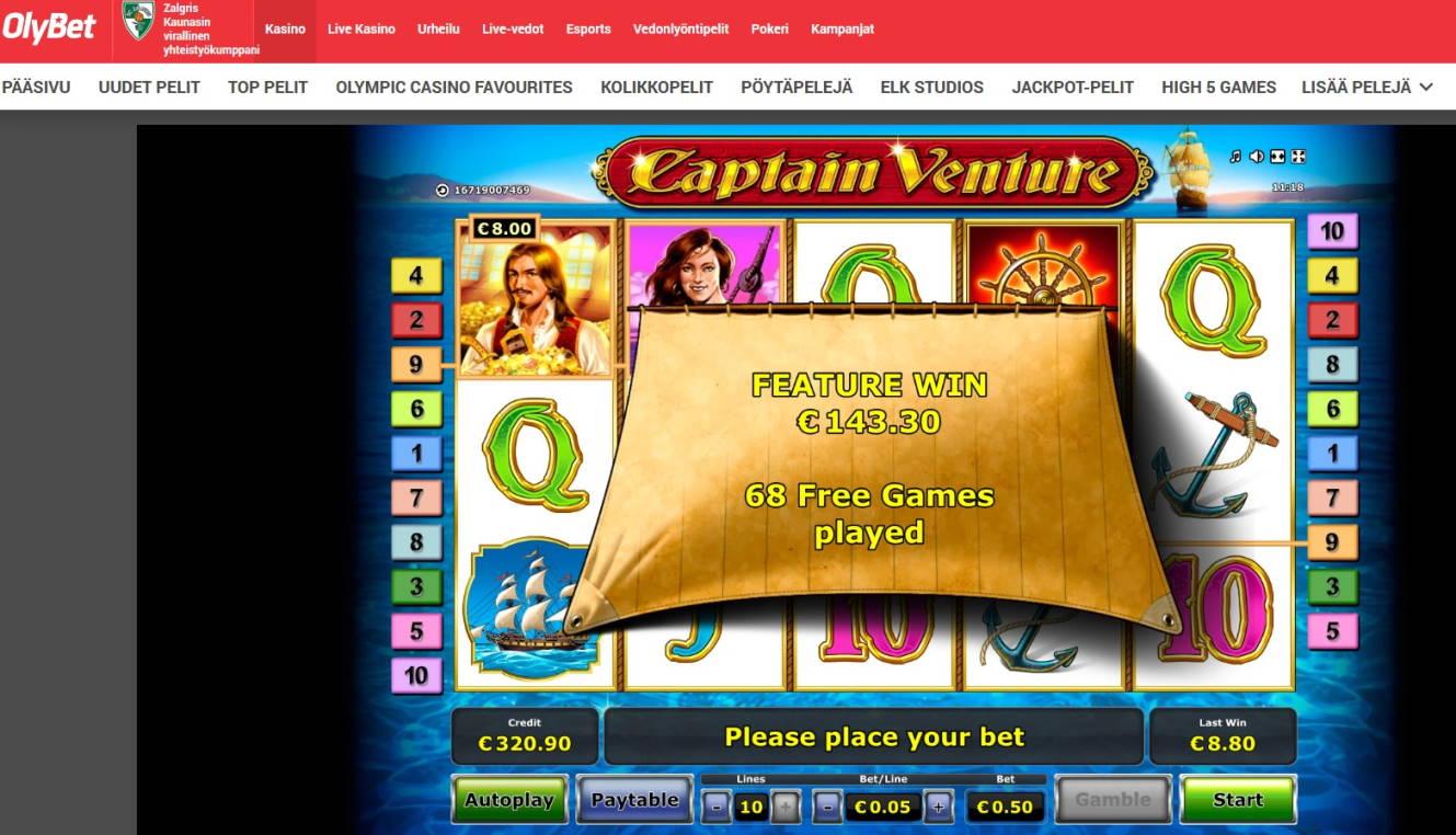 Captain Venture Casino win picture by MrMork666 16.11.2020 143.30e 287X Olybet