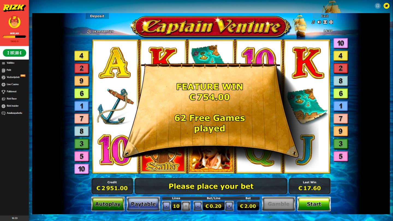 Captain Venture Casino win picture by MurdoX 25.10.2020 754e 377X Rizk