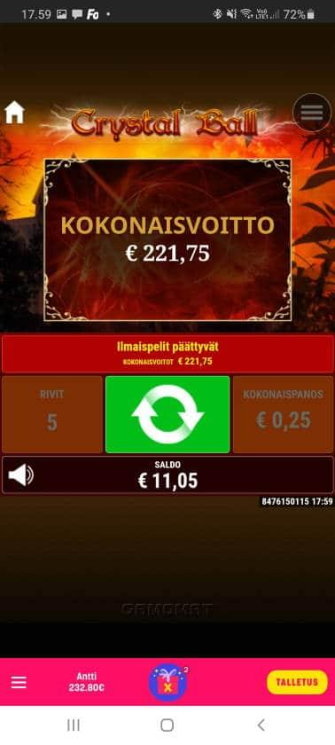 Crystal Ball Casino win picture by dj_niemi 28.10.2020 221.75e 887X Caxino