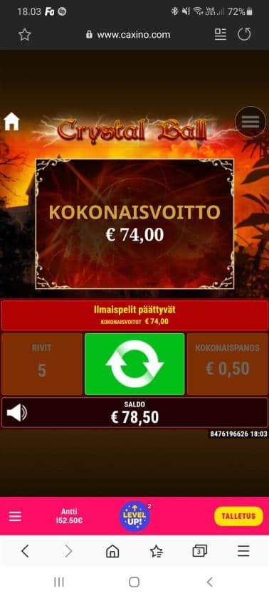 Crystal Ball Casino win picture by dj_niemi 28.10.2020 74e 148X Caxino