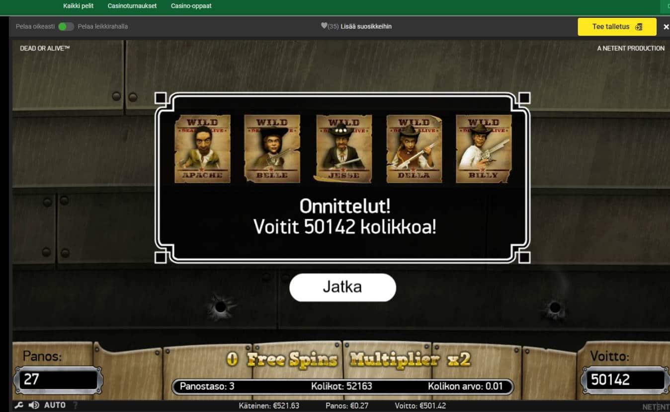 Dead or Alive Casino win picture by MrMork666 10.11.2020 501.42e 1857X Unibet