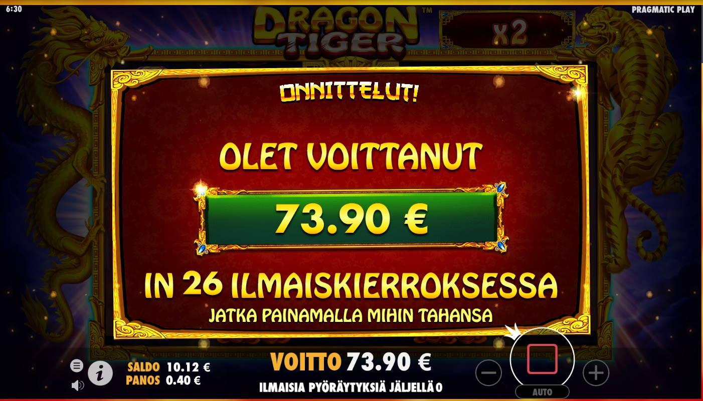 Dragon Tiger Casino win picture by MrMork666 16.11.2020 73.90e 185X
