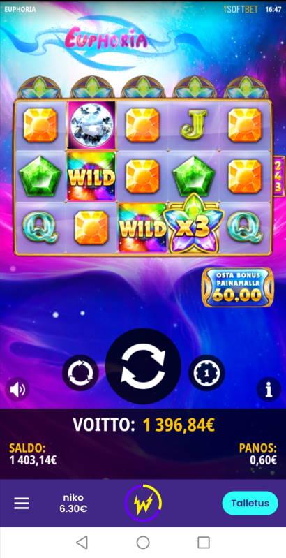 Euphoria Casino win picture by Shiro 28.10.2020 1396.84e 2328X Wildz