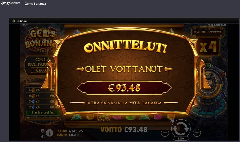 Gems Bonanza Casino win picture by MrMork666 16.11.2020 93.48e 156X