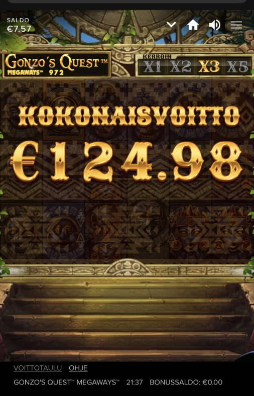 Gonzos Quest Megaways Casino win picture by sonefinland 5.11.2020 124.80e 625X