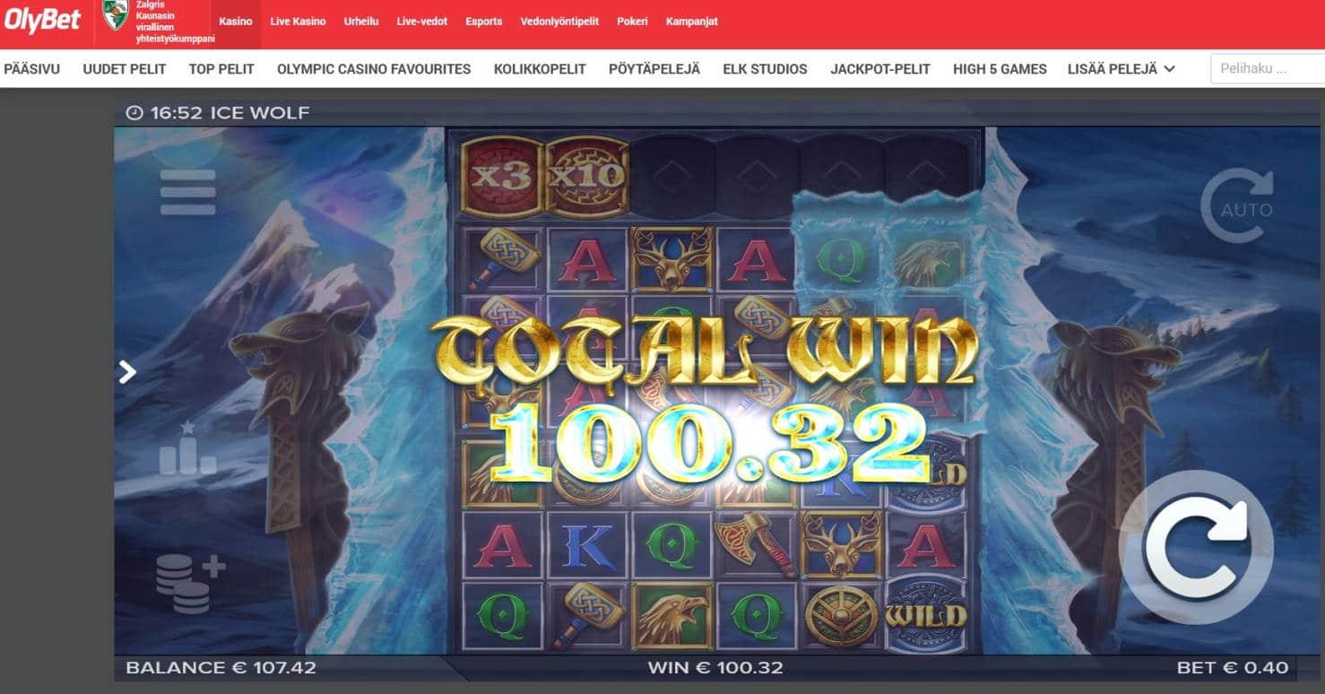 Ice Wolf Casino win picture by MrMork666 16.11.2020 100.32e 251X Olybet
