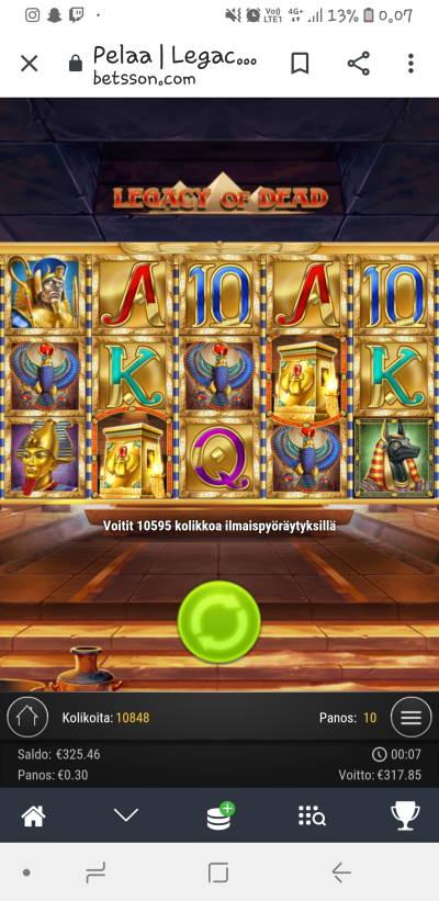 Legacy of Dead Casino win picture by Maikhelixd 31.10.2020 317.85e 1060X Betsson
