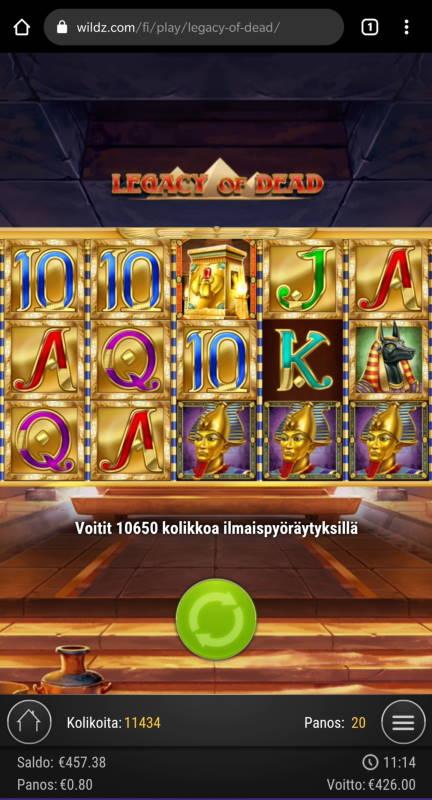 Legacy of Dead Casino win picture by Salatheel 25.10.2020 426e 533X Wildz