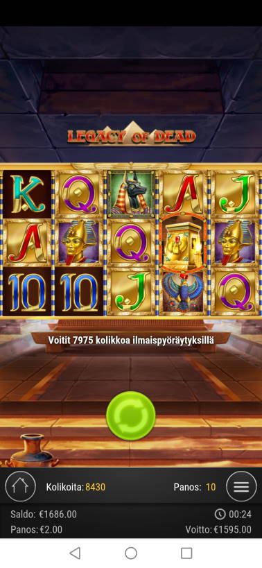 Legacy of Dead Casino win picture by jyrkkenkloppi 31.10.2020 1595e 798X