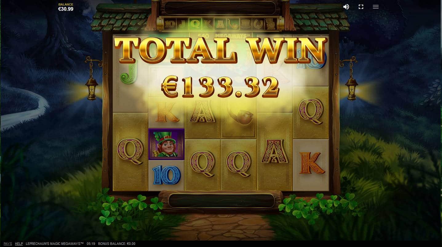 Leprechauns Magic Casino win picture by Megaways Kari Grandi 2.11.2020 133.32e 133X