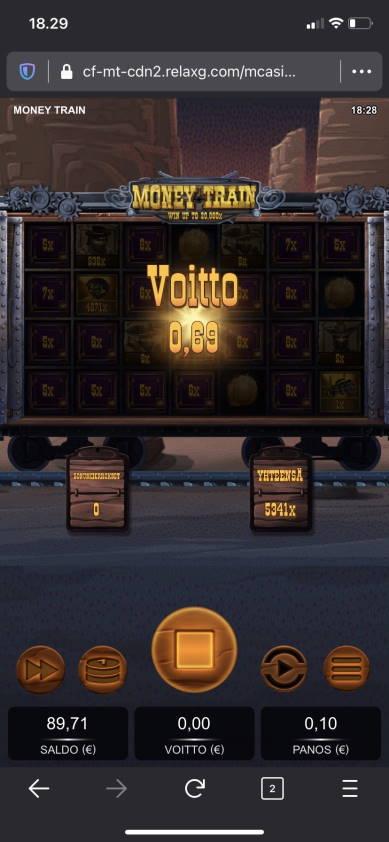 Money Train Casino win picture by Laeppis 5.11.2020 534.10e 5341X