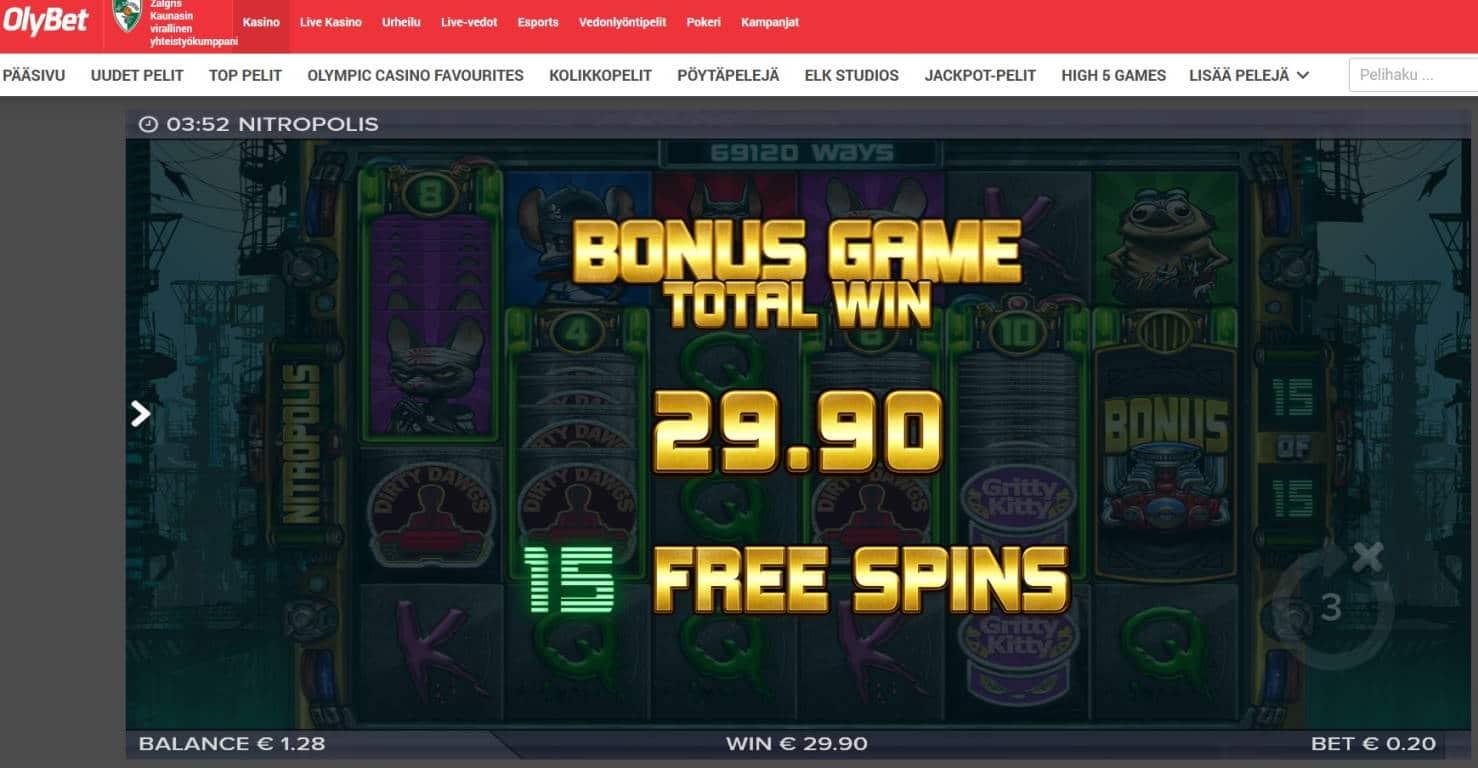 Nitropolis Casino win picture by MrMork666 16.11.2020 29.90e 150X Olybet