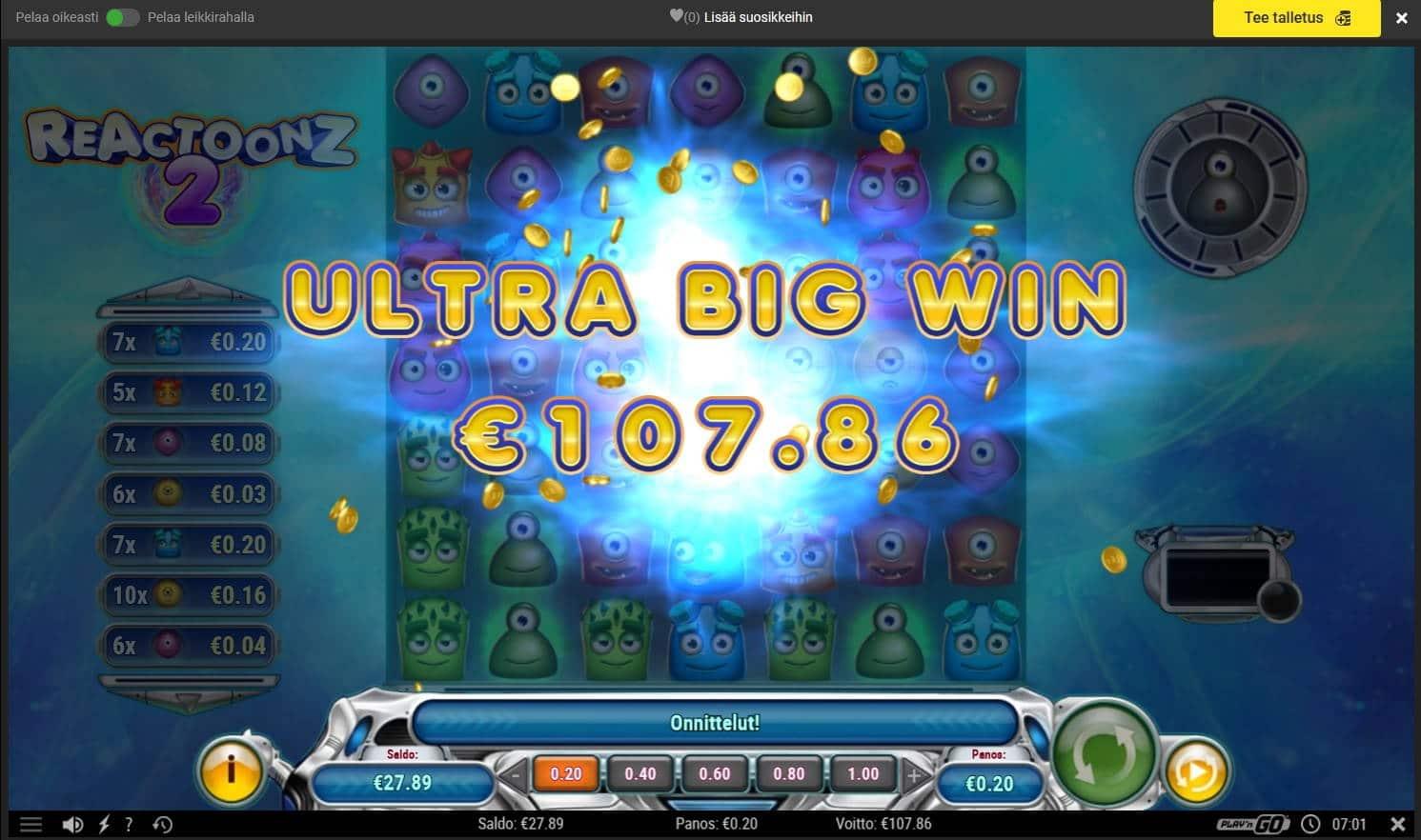 Reactoonz 2 Casino win picture by MrMork666 16.11.2020 107.86e 539X
