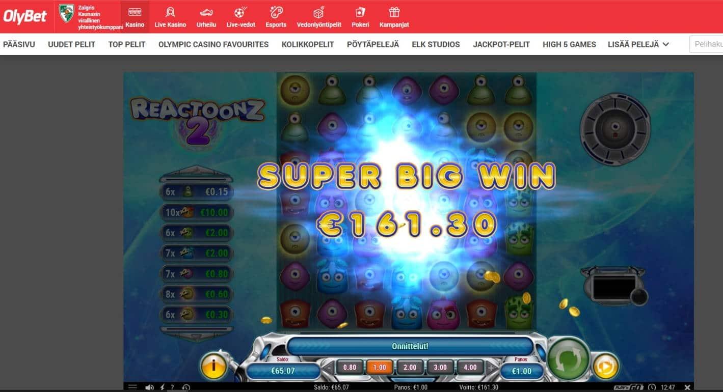 Reactoonz 2 Casino win picture by MrMork666 16.11.2020 161.30e 161X Olybet