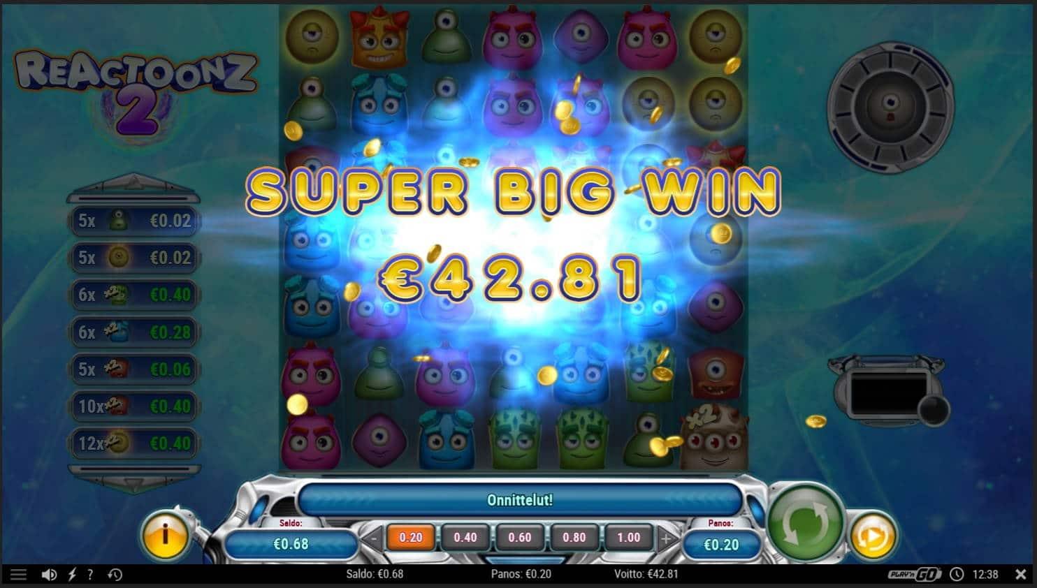 Reactoonz 2 Casino win picture by MrMork666 16.11.2020 42.81e 214X