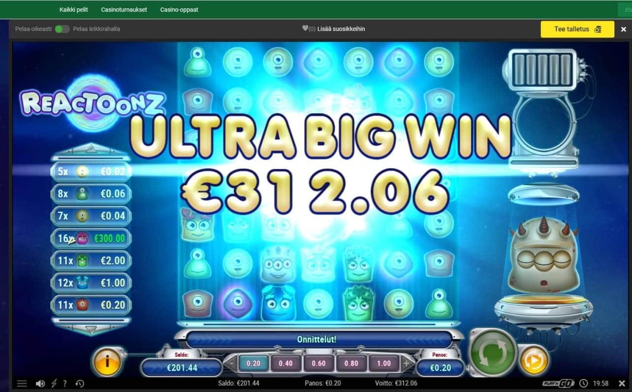Reactoonz Casino win picture by Mrmork666 4.11.2020 312.06e 1560X Unibet