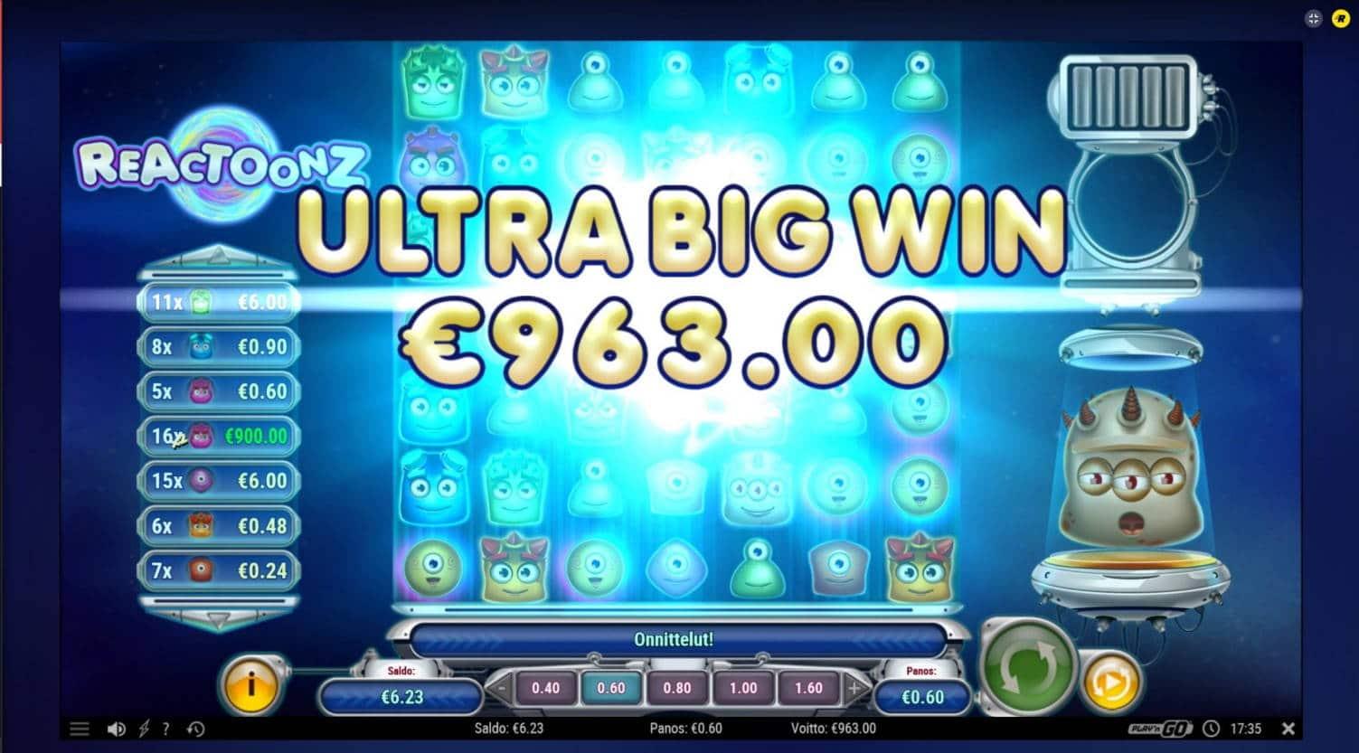 Reactoonz Casino win picture by carl 16.11.2020 963e 1605X