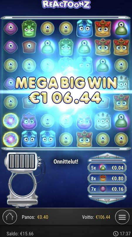 Reactoonz Casino win picture by sonefinland 12.11.2020 106.44e 266X