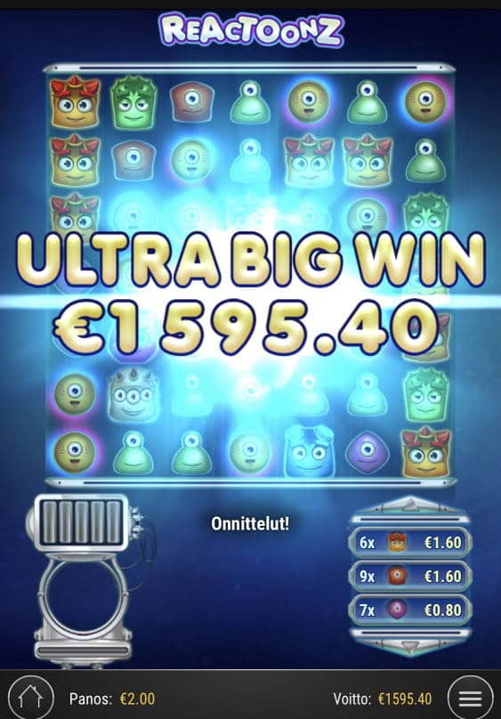 Reactoonz Casino win picture by sonefinland 17.11.2020 1595.40e 798X