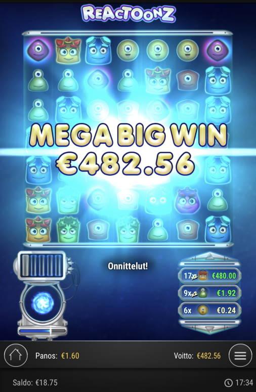 Reactoonz Casino win picture by sonefinland 17.11.2020 482.56e 302X