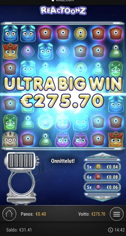 Reactoonz Casino win picture by sonefinland 2.11.2020 275.70e 689X Wildz