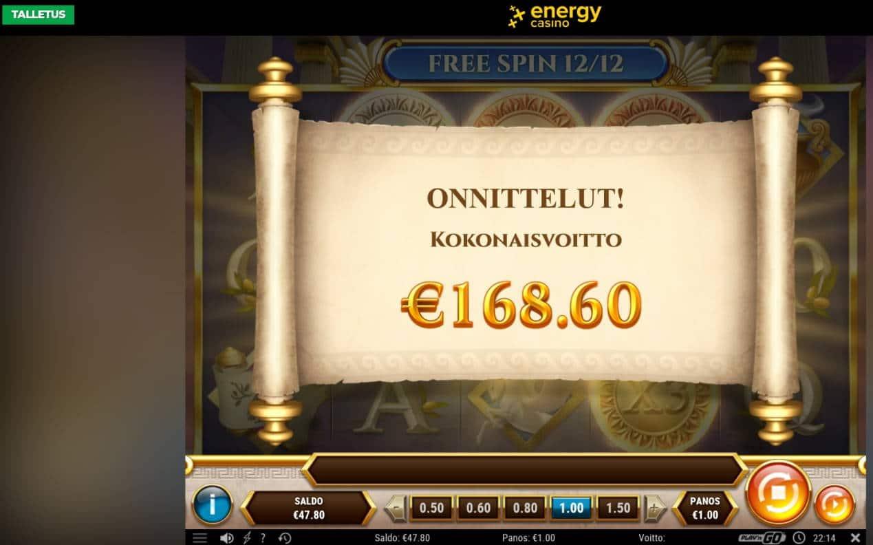 Rise of Athena Casino win picture by MrMork666 16.11.2020 168.60e 169X Energy Casino