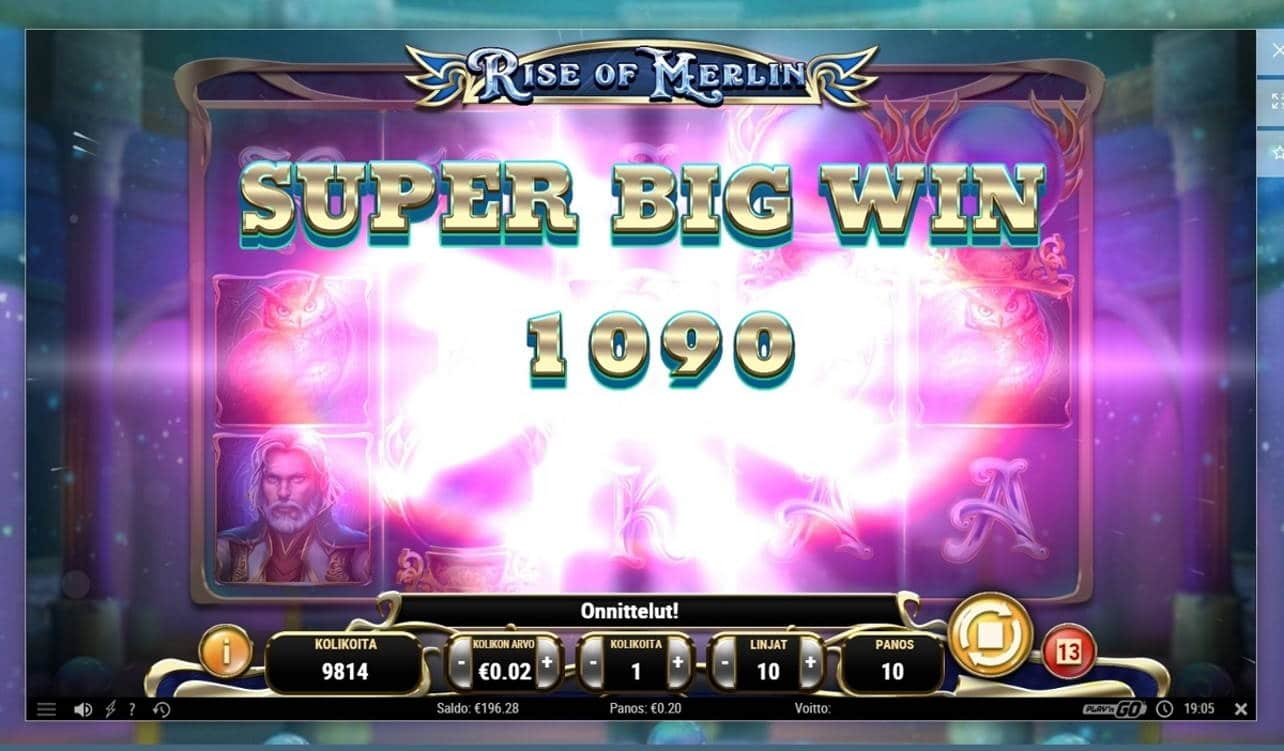 Rise of Merlin Casino win picture by ArcanaAce 29.10.2020 200e 1000X