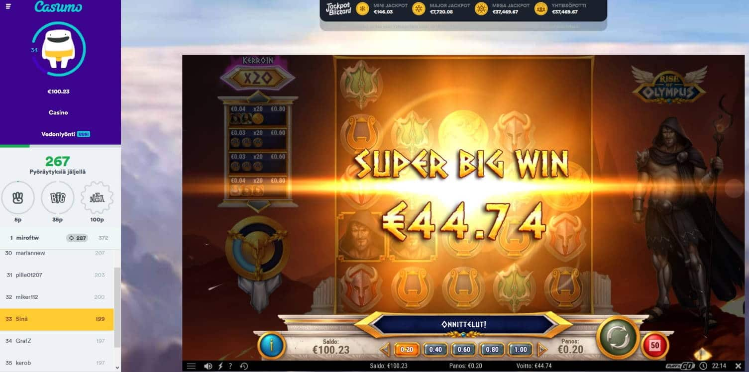 Rise of Olympus Casino win picture by MrMork666 16.11.2020 44.74e 223X Casumo