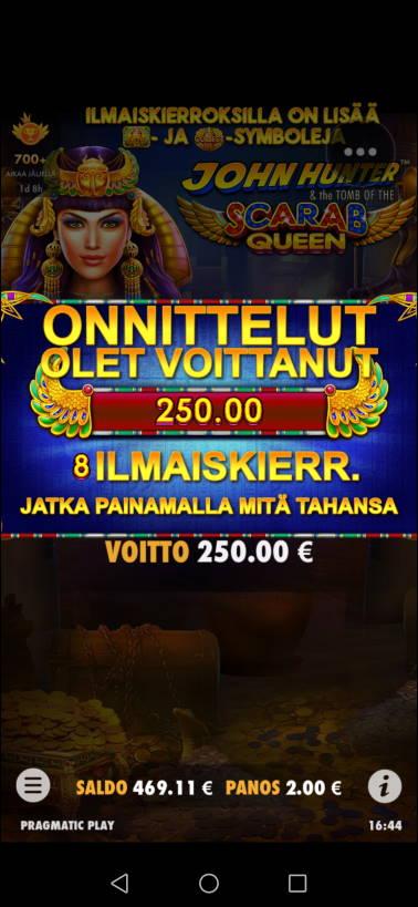 Scarab Queen Casino win picture by jyrkkenkloppi 3.11.2020 250e 125X