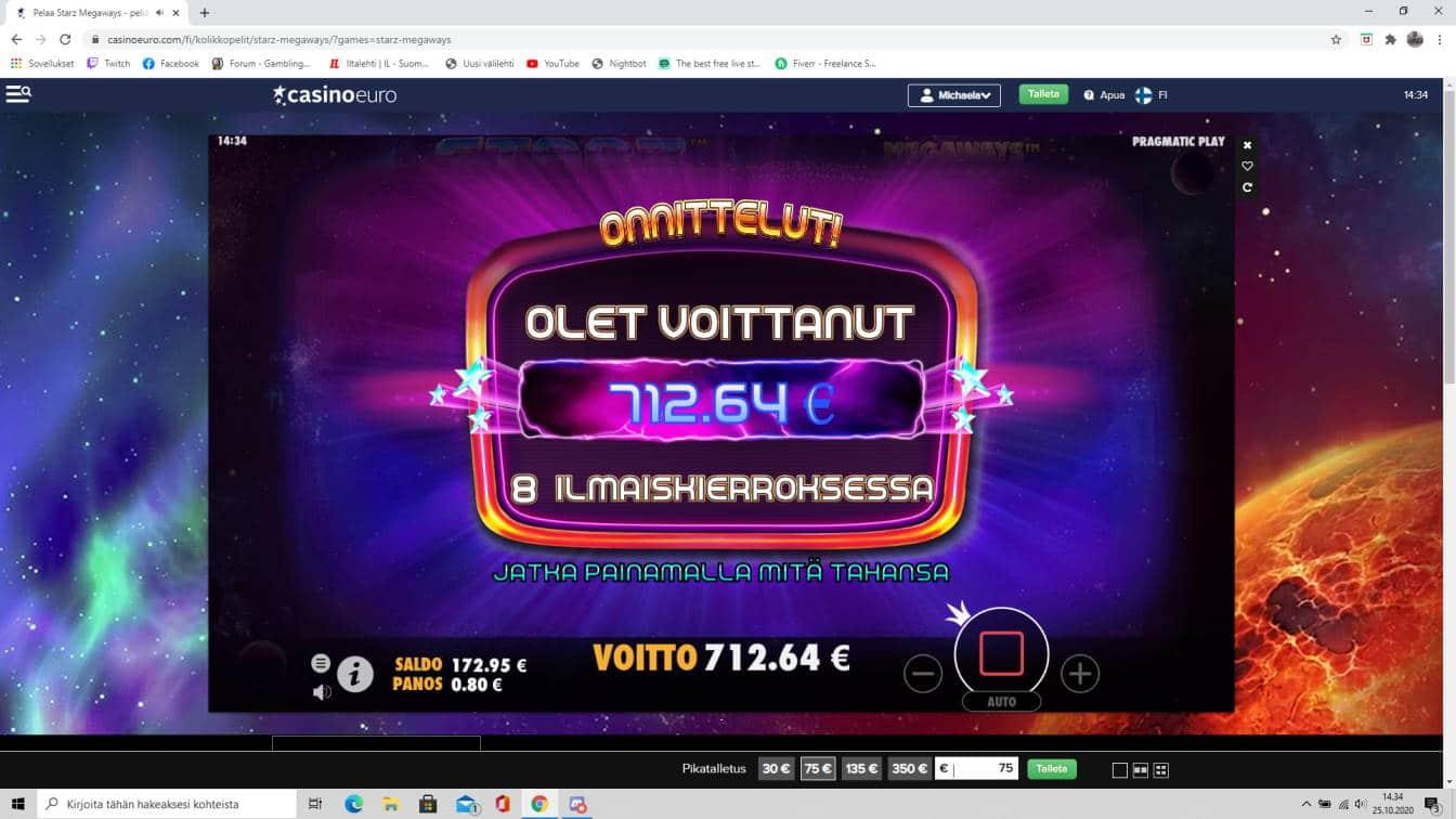 Starz Megaways Casino win picture by tiikerililja87 25.10.2020 712.64e 891X Casino Euro