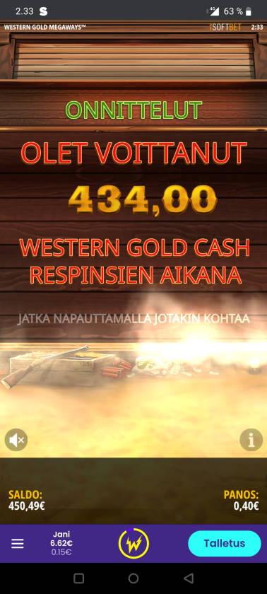 Western Gold Megaways Casino win picture by ryyyhavalas 8.10.2020 434e 1085X Wildz